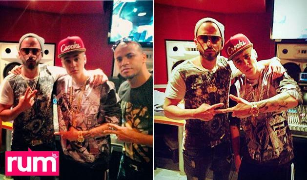 Justin Bieber 2014 Yandel 2014 in the studio recording a song cancion Realeza Urbana Magazine