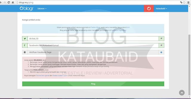 cara ping entri dengan blogr.my