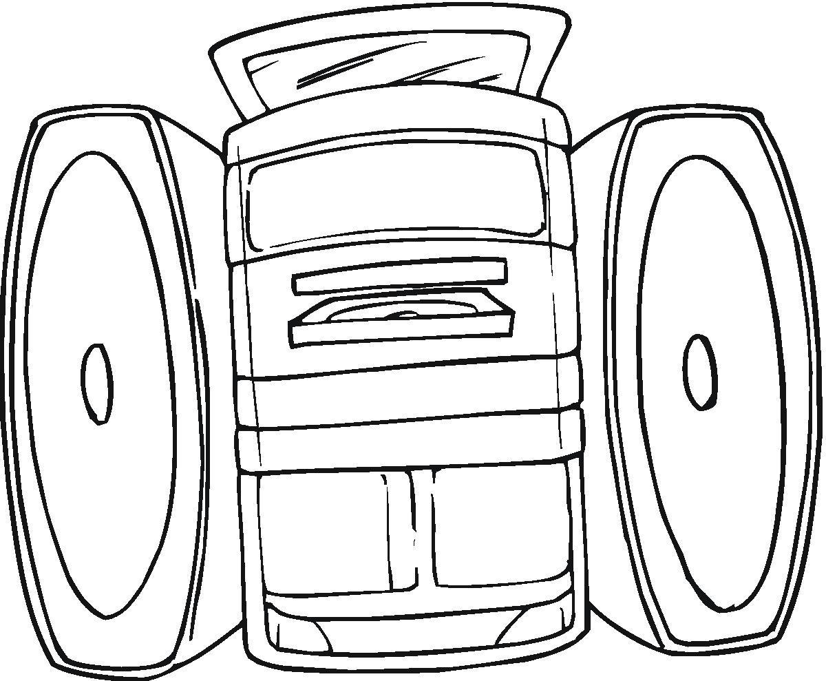 Desenhos Para Colori som automotivo e aparelho som de casa    desenhar