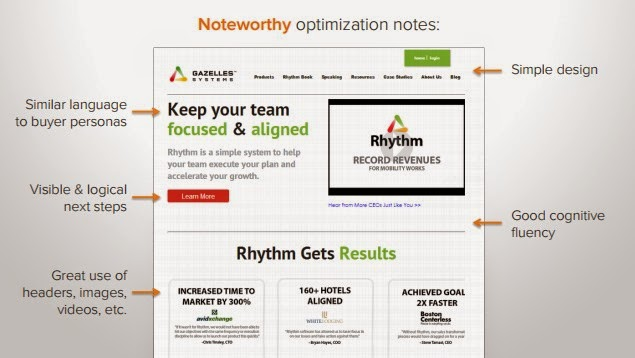 HubSpot's model example of website optimization.  A simple design, similar language to buyer personas, visible and logical next steps, good cognitive fluency, and great use of headers, images, videos, etc.