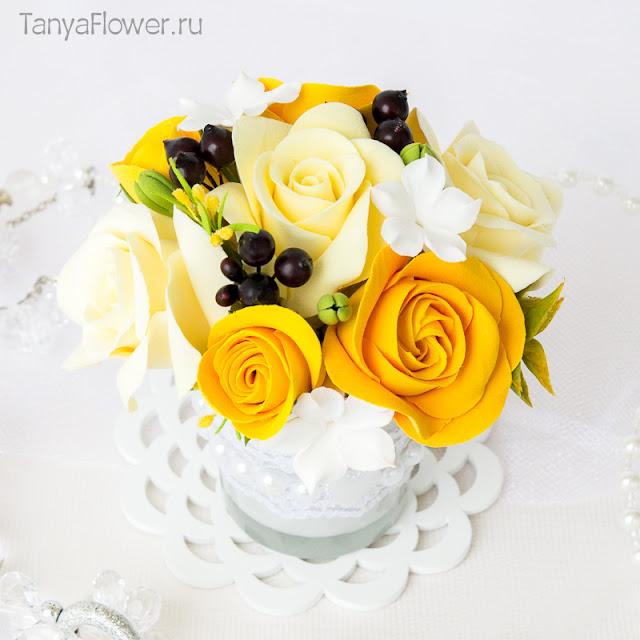 летние цветы ручной работы из полимерной глины