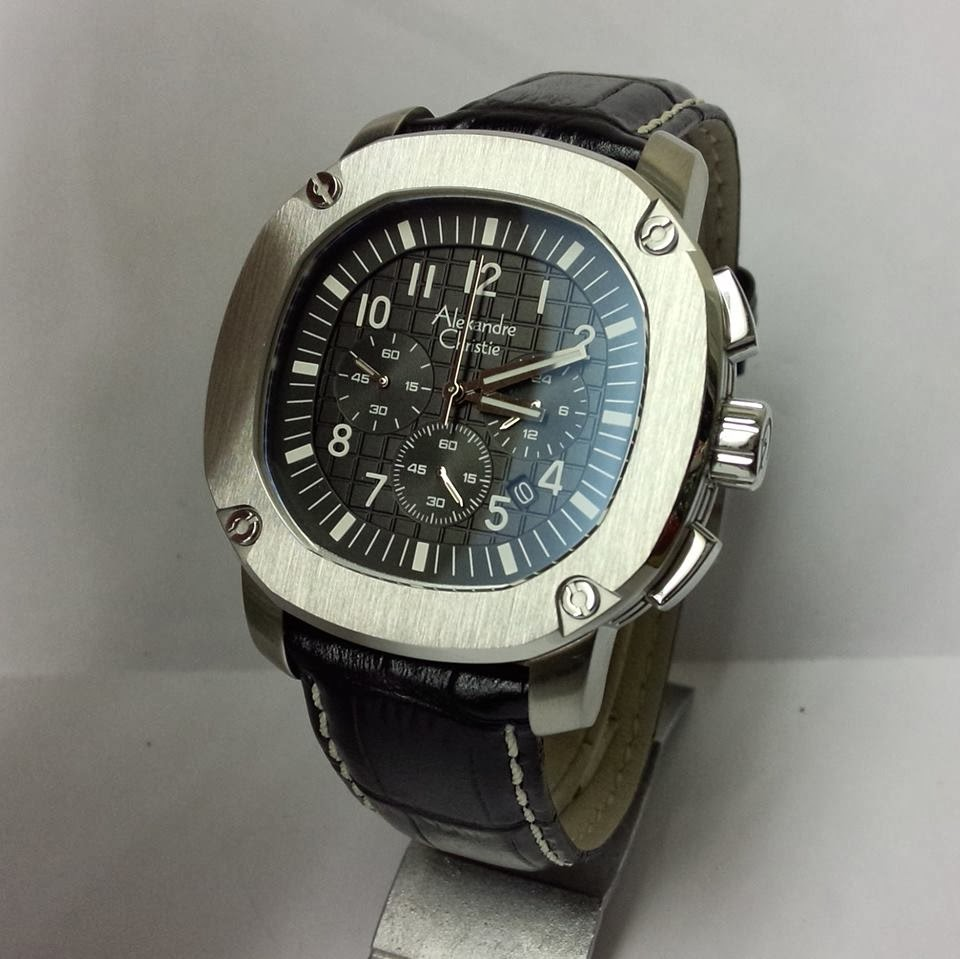 Alexandre Christie Jam Tangan Pria Leather Strap Ac 8484 Black Man2 6444 Mc Silver Cream Original 6293
