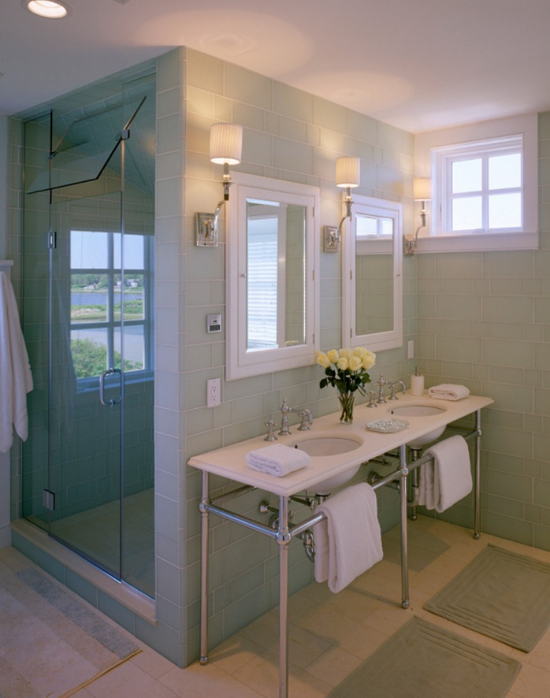 This Bathroom Has Coastal Beach Cottage Style With Light Blue Glass