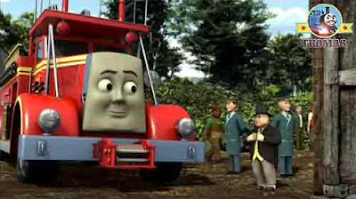 Sir Topham Hatt road transport vehicles to salvage cherry red fire fighter Flynn raced to the rescue