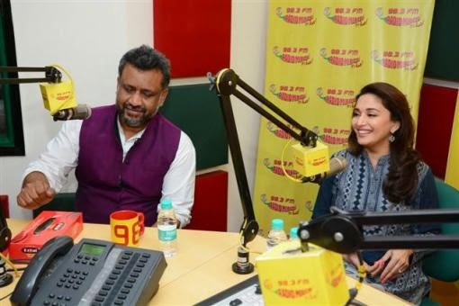 Director Soumik Sen and Madhuri Dixit promoting Gulaab Gang at Fm Radio station