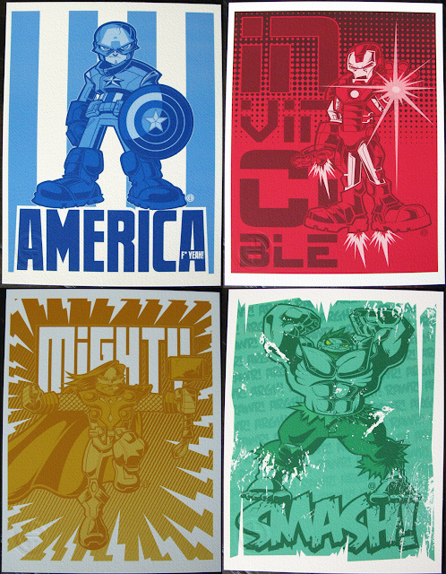 The Avengers Movie Prints by Tracy Tubera - Captain America &#8220;America F* Yeah!&#8221;, Iron Man &#8220;Invincible&#8221;, Thor &#8220;Mighty&#8221; &amp; the Incredible Hulk &#8220;Smash&#8221;