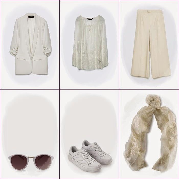 Casaco. camisa renda, pantalonas oculos Mango e Zara