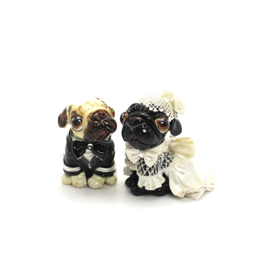 Wedding Gift Ideas For Dog Lovers : Pug Dog Lover Pet Lover Wedding cake topper Figurine Statue