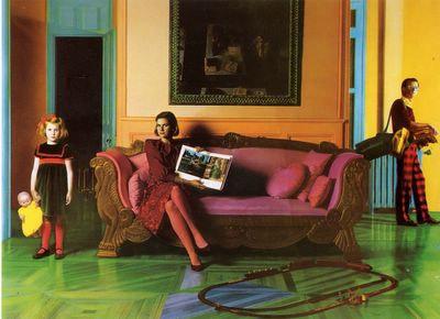 Cuadro de Ouka Leele con un toque que me recuerda a la estética de Tim Burton por los colores y el estilo.