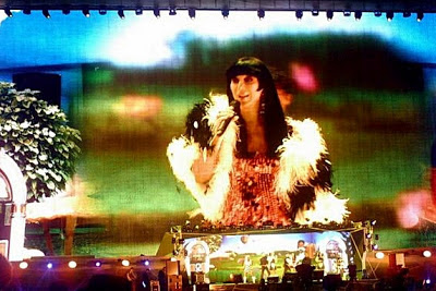 Cher on stage in Russia, 1 June 2013