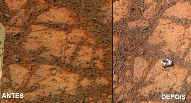 Rocha 'aparece' misteriosamente em frente a um veículo em Marte (com video)