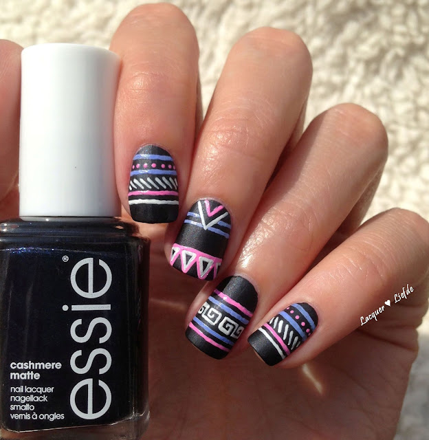 Chalkboard Tribal Nails with Essie Spun in Luxe