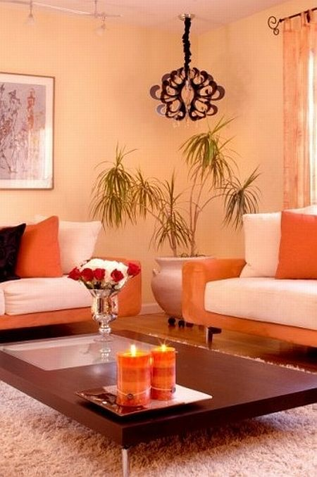 beautiful orange and white living room