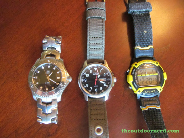 From Left: Tag Heuer Link, Citizen BM8180-03E, Casio Cheapie