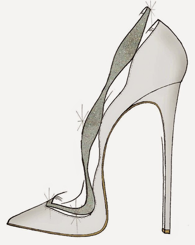 Alexandre Birman Sketch of Cinderella Glass Slipper