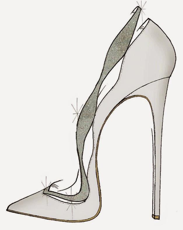 Alexandre Birman Sketch of Cinderella Glass Slipper