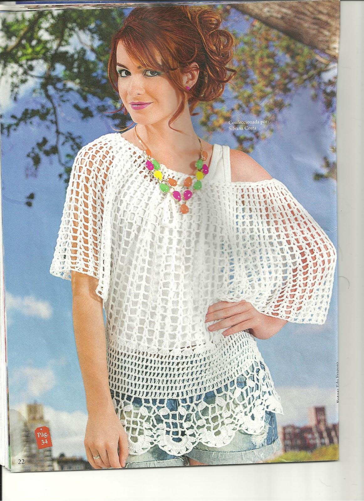 Красивая модель: белая сетчатая блуза. 27624