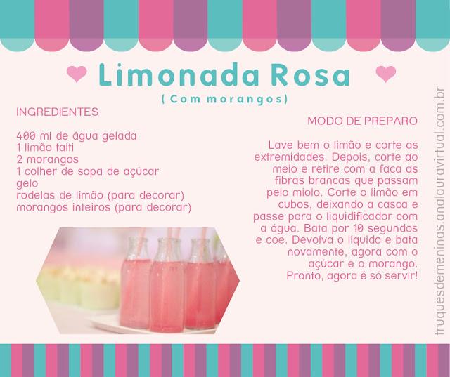 Limonada rosa com morangos