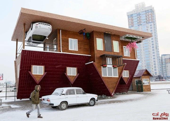البيت المذهل المقلوب رأسا على عقب والذي يتيح للزوار المشي على السقف Rawai3Net-Upside-Dow