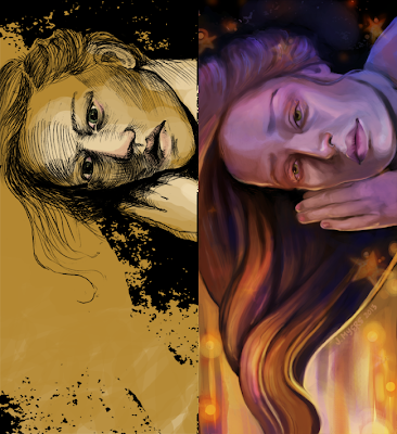 Before and After of In Deep Jemima Kirke painting