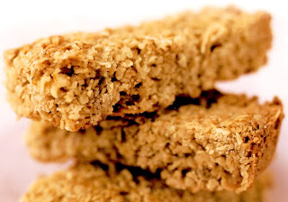 Flapjacks: Stack of three oat-based flapjacks