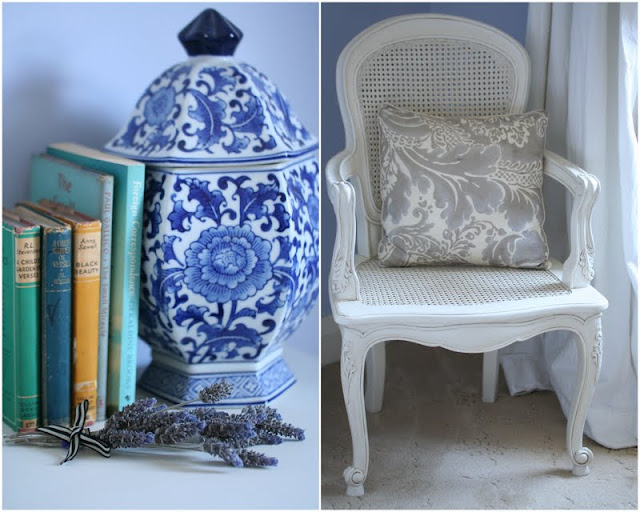 Blue Ginger Jar and French Bedroom Chair
