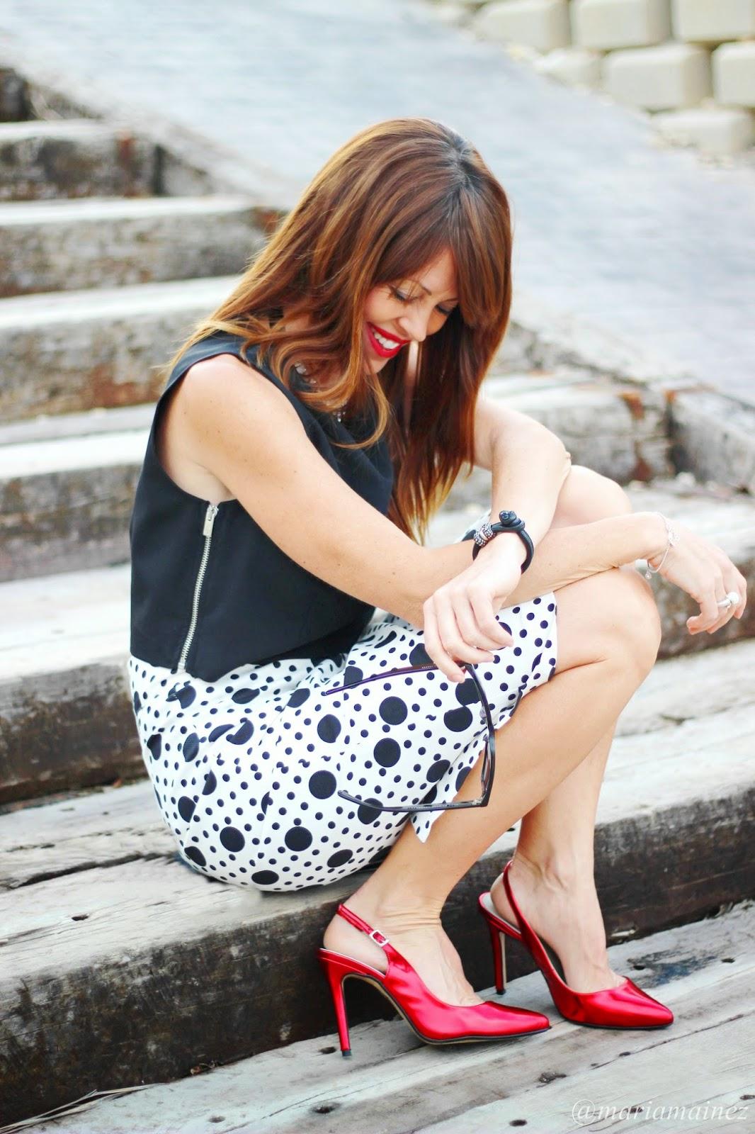 Total look Denny Rose - Falda tubo - lunares - fashion blogger - streetstyle