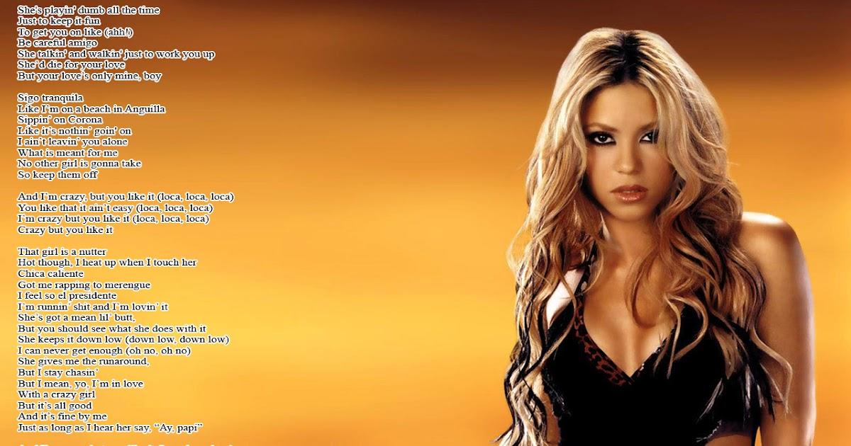 Lyrics Wallpapers Shakira Feat Dizzee Rascal Loca English Version