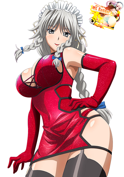 Tags: Anime, Render,  Grayfia Lucifuge,  High School DxD, ハイスクールD×D, Haisukūru D×D,  Maid,  Milf,  Twin braids, PNG, Image, Picture