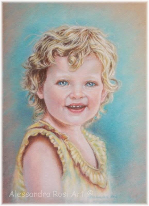 child portrait painting, custom baby portrait in pastel