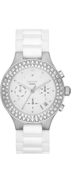 DKNY Chambers White Crystal Bezel Watch