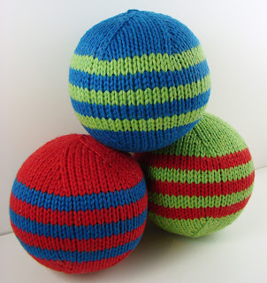 hand knit ball toy red blue green