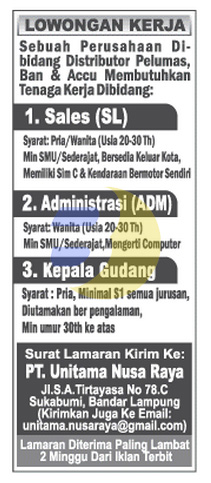 Recruitment PT. Unitama Nusa Raya