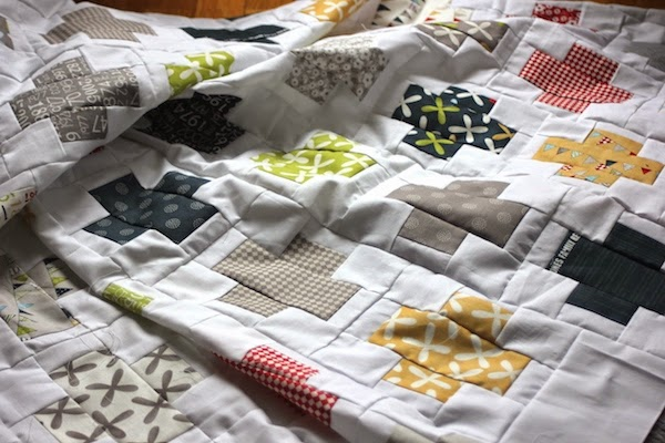 quilt en patchwork diseño de cruces