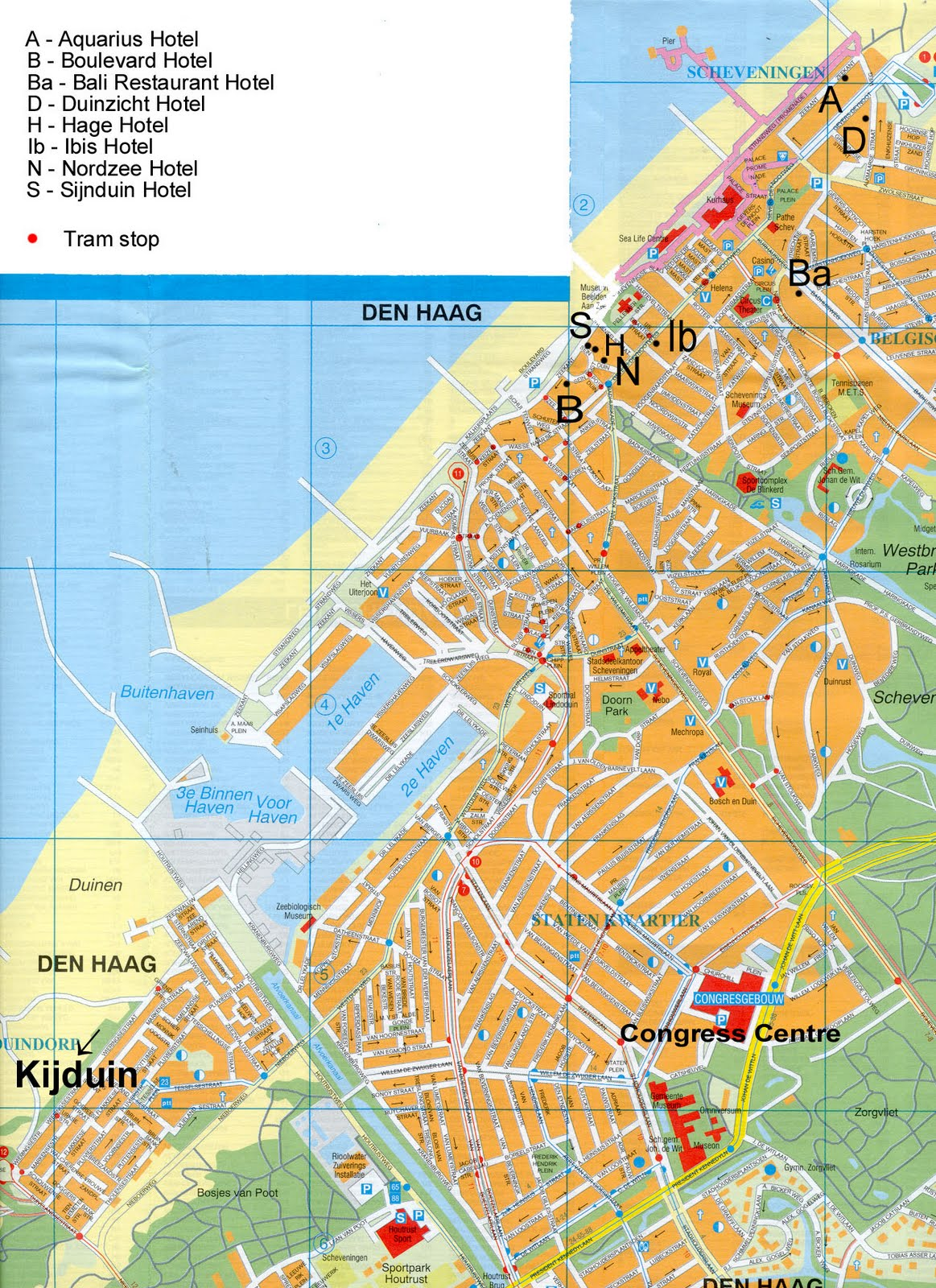 Maps of Netherlands HollandCitiesTourist Map of The Hague Den – The Hague Tourist Map