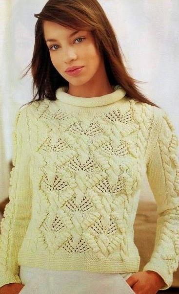 swetre ze sciegami na drutach