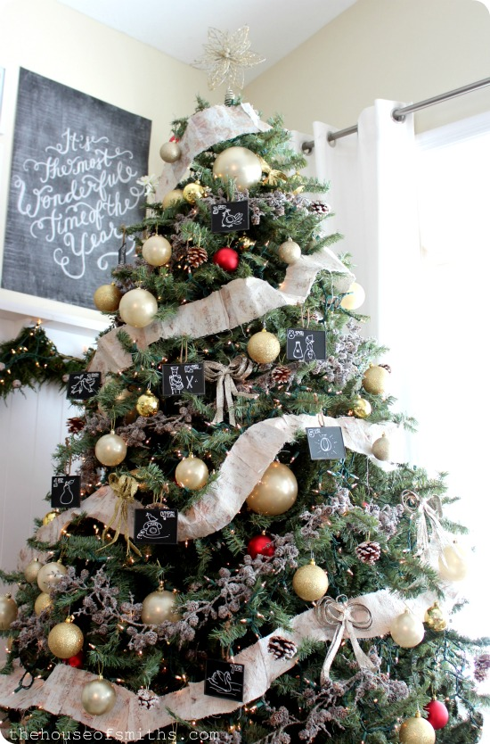 Birch garland, Frosted pine cone garland and Chalkboard ornaments - The  Black Goose Design, All other ornaments and metallic bows - Tai Pan Trading