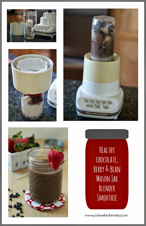 healthy chocolate berry and bean Mason jar blender smoothie
