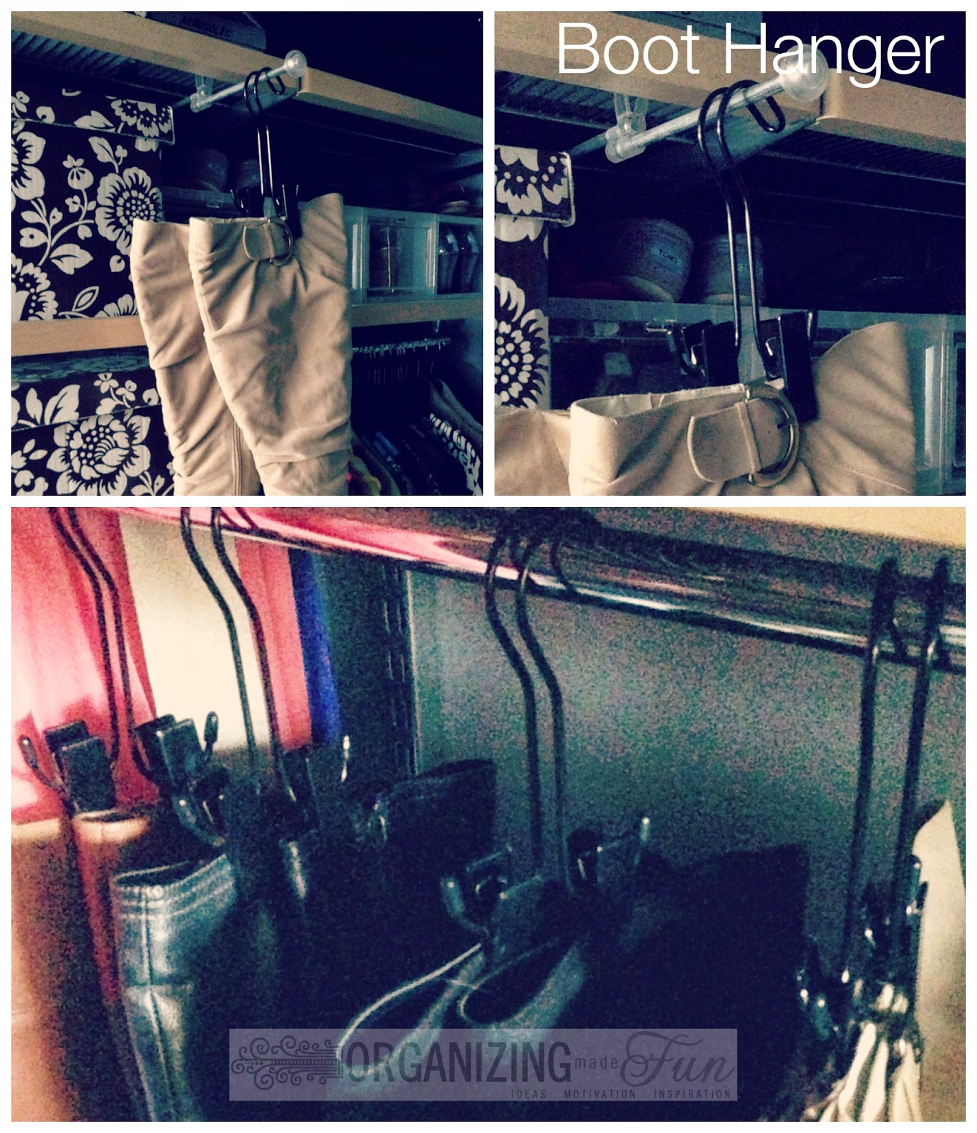 My favorite way to hang boots - a boot hanger :: OrganizingMadeFun.com