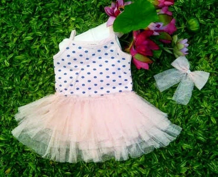 Contoh baju tutu dress cantik banget model baru untuk anak perempuan pulkadot