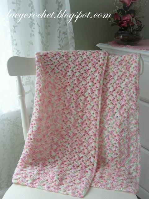 Lacy Crochet Summer Baby Blanket In Variegated Yarn Free Pattern