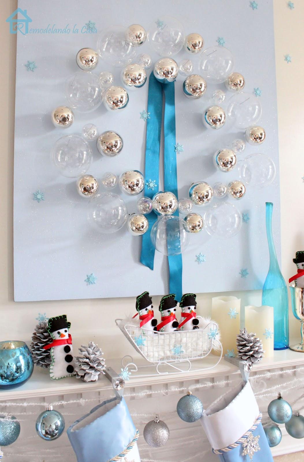 Blue Christmas Mantel Remodelando La Casa