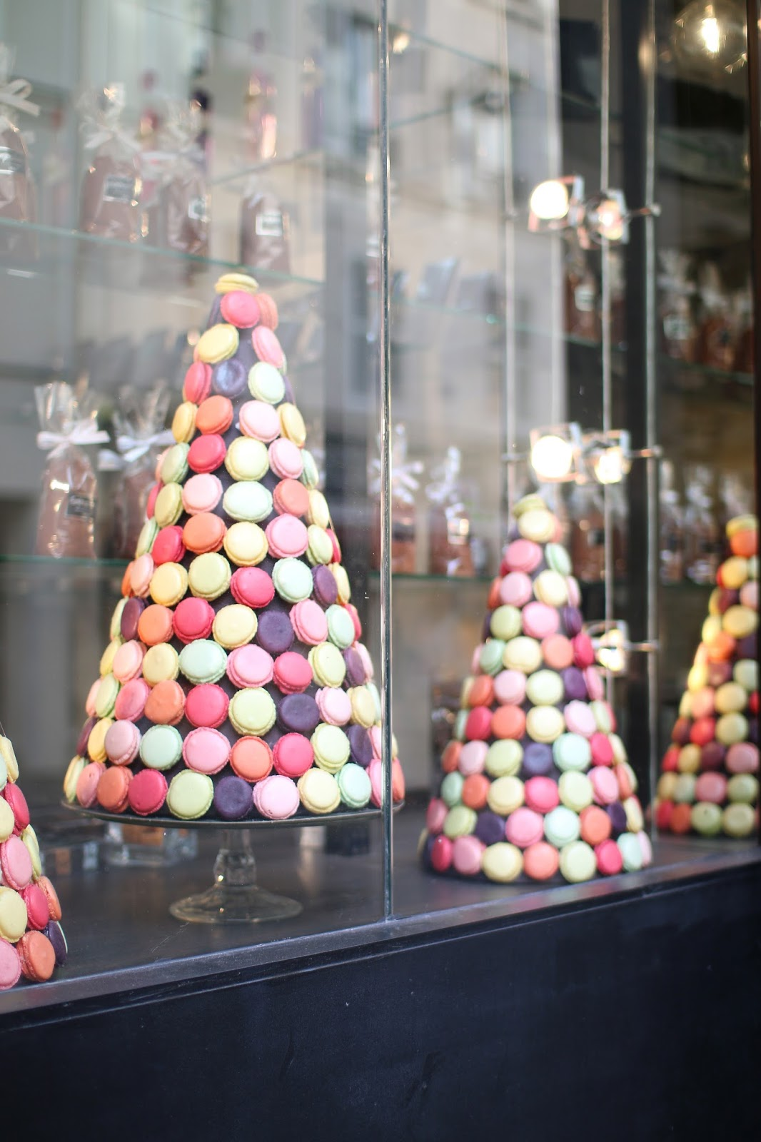 a tree made of macaroons in a paris shop