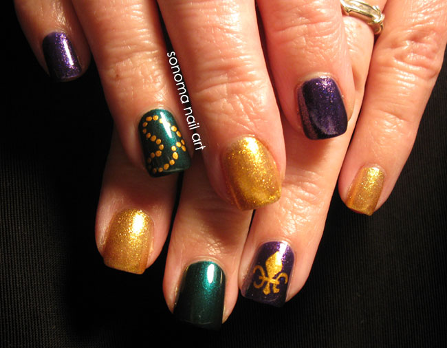 Sonoma Nail Art: Mardi Gras Nails