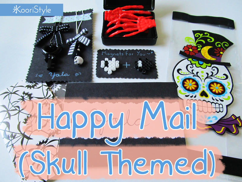 Koori KooriStyle Kawaii Cute Happy Snail Mail Idea Skull Mexican Día de Muertos Keychain Earrings