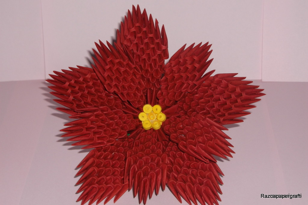 3D Origami Flower Poinsettia Made From Paper