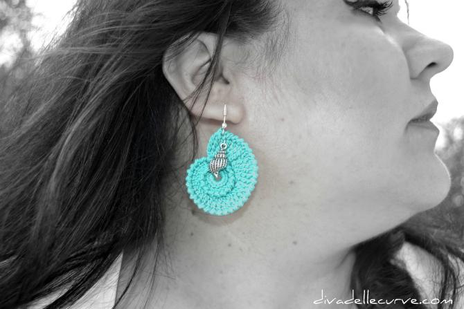 orecchini crochet turchese conchiglia