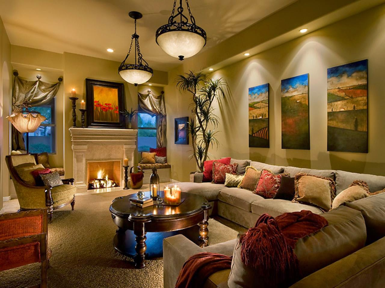 Living Room With Accent Down Light Pendant And Floor Lamp