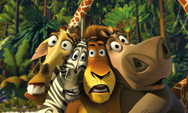 The animals with frightened looks on their faces in Madagascar animatedfilmreviews.filminspector.com