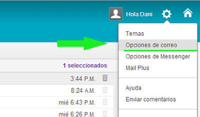 opciones de yahoo mail
